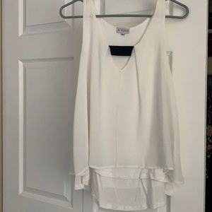 White, flowy Guess tank top with black accent